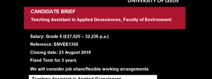 2019.07 – Job offer: Teaching Assistant in Applied Geosciences
